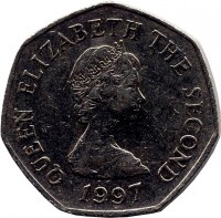 obverse of 50 Pence - Elizabeth II - Smaller; 2'nd Portrait (1997) coin with KM# 58.2 from Jersey. Inscription: QUEEN ELIZABETH THE SECOND 1997