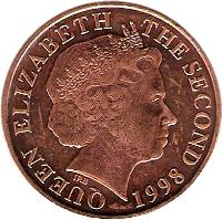 obverse of 2 Pence - Elizabeth II - 4'th Portrait (1998 - 2008) coin with KM# 104 from Jersey. Inscription: QUEEN ELIZABETH THE SECOND 1998 IRB