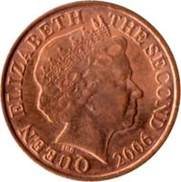 obverse of 1 Penny - Elizabeth II - 4'th Portrait (1998 - 2012) coin with KM# 103 from Jersey. Inscription: QUEEN ELIZABETH THE SECOND 2003 IRB