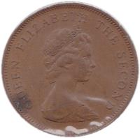 obverse of 2 Pence - Elizabeth II - 2'nd Portrait (1981) coin with KM# 47 from Jersey. Inscription: QUEEN ELIZABETH THE SECOND