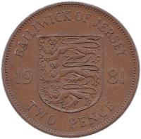 reverse of 2 Pence - Elizabeth II - 2'nd Portrait (1981) coin with KM# 47 from Jersey. Inscription: BAILIWICK OF JERSEY 19 81 TWO PENCE