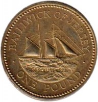 reverse of 1 Pound - Elizabeth II - 19th Century Jersey Shipbuilding - 2'nd Portrait (1994 - 1997) coin with KM# 91 from Jersey. Inscription: BAILIWICK OF JERSEY RESOLUTE 1877 · ONE POUND ·