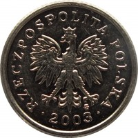 obverse of 20 Groszy (1990 - 2015) coin with Y# 280 from Poland. Inscription: RZECZPOSPOLITA POLSKA · 2003 ·