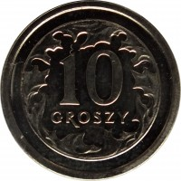 reverse of 10 Groszy (1990 - 2015) coin with Y# 279 from Poland. Inscription: 10 GROSZY