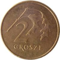 reverse of 2 Grosze (1990 - 2014) coin with Y# 277 from Poland. Inscription: 2 GROSZE