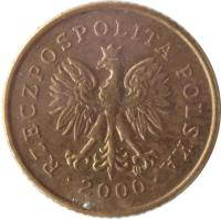 obverse of 1 Grosz (1990 - 2014) coin with Y# 276 from Poland. Inscription: RZECZPOSPOLITA POLSKA · 1990 ·