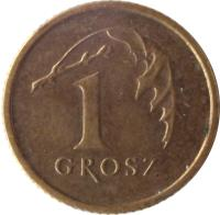 reverse of 1 Grosz (1990 - 2014) coin with Y# 276 from Poland. Inscription: 1 GROSZ