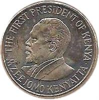 obverse of 1 Shilling (2005 - 2010) coin with KM# 34 from Kenya. Inscription: THE FIRST PRESIDENT OF KENYA · MZEE JOMO KENYATTA ·