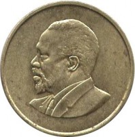obverse of 5 Cents - Without legend (1966 - 1968) coin with KM# 1 from Kenya.