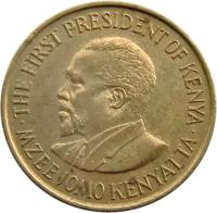 obverse of 5 Cents - With legend (1969 - 1978) coin with KM# 10 from Kenya. Inscription: · MZEE JOMO KENYATTA · THE FIRST PRESIDENT OF KENYA