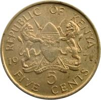 reverse of 5 Cents - With legend (1969 - 1978) coin with KM# 10 from Kenya. Inscription: REPUBLIC OF KENYA 1971 5 FIVE CENTS HARAMBEE