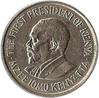 obverse of 50 Cents - With legend (1969 - 1978) coin with KM# 13 from Kenya. Inscription: THE FIRST PRESIDENT OF KENYA MZEE JOMO KENYATTA