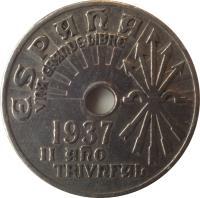 obverse of 25 Céntimos (1937) coin with KM# 753 from Spain. Inscription: ESPAÑA VNA.GRANDE.LIBRE 1937 II AÑO TRIVNFAL
