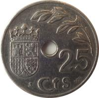 reverse of 25 Céntimos (1937) coin with KM# 753 from Spain. Inscription: 25 Cts ST V.V.