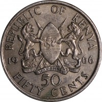 reverse of 50 Cents - Without legend (1966 - 1968) coin with KM# 4 from Kenya. Inscription: REPUBLIC OF KENYA 19 66 50 FIFTY CENTS HARAMBEE