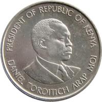 obverse of 50 Cents (1978 - 1989) coin with KM# 19 from Kenya. Inscription: PRESIDENT OF REPUBLIC OF KENYA DANIEL TOROITICH ARAP MOI