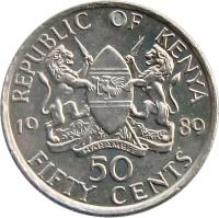 reverse of 50 Cents (1978 - 1989) coin with KM# 19 from Kenya. Inscription: REPUBLIC OF KENYA 1980 50 FIFTY CENTS HARAMBEE