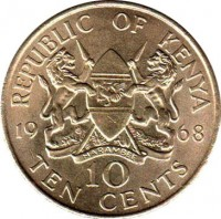reverse of 10 Cents - Without legend (1966 - 1968) coin with KM# 2 from Kenya. Inscription: REPUBLIC OF KENYA 19 68 10 TEN CENTS HARAMBEE