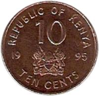 reverse of 10 Cents (1995) coin with KM# 31 from Kenya. Inscription: REPUBLIC OF KENYA 10 1995 TEN CENTS
