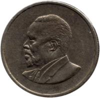 obverse of 25 Cents - Without legend (1966 - 1967) coin with KM# 3 from Kenya.