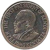 obverse of 50 Cents (2005 - 2009) coin with KM# 41 from Kenya. Inscription: THE FIRST PRESIDENT OF KENYA MZEE JOMO KENYATTA