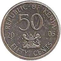reverse of 50 Cents (2005 - 2009) coin with KM# 41 from Kenya. Inscription: REPUBLIC OF KENYA 2005 50 FIFTY CENTS