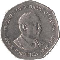 obverse of 5 Shillings (1994) coin with KM# 23a from Kenya. Inscription: PRESIDENT OF REPUBLIC OF KENYA DANIEL TOROITICH ARAP MOI