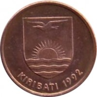 obverse of 1 Cent (1992) coin with KM# 1a from Kiribati. Inscription: KIRIBATI 1992