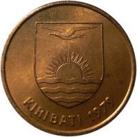 obverse of 2 Cents (1979 - 1992) coin with KM# 2 from Kiribati. Inscription: KIRIBATI 1992