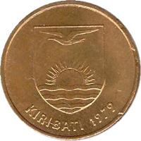 obverse of 1 Cent (1979 - 1992) coin with KM# 1 from Kiribati. Inscription: KIRIBATI 1979