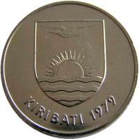 obverse of 20 Cents (1979) coin with KM# 5 from Kiribati. Inscription: KIRIBATI 1979