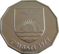 obverse of 1 Dollar (1979) coin with KM# 7 from Kiribati. Inscription: KIRIBATI 1979