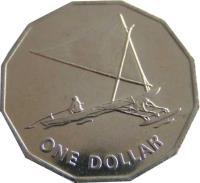 reverse of 1 Dollar (1979) coin with KM# 7 from Kiribati. Inscription: ONE DOLLAR