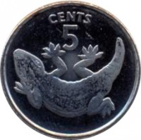 reverse of 5 Cents (1992) coin with KM# 3a from Kiribati. Inscription: CENTS 5