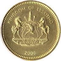 obverse of 5 Lisente - Letsie III (1998 - 2006) coin with KM# 62 from Lesotho. Inscription: KINGDOM OF LESOTHO KHOTSO PULA NALA 1998