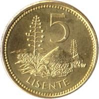 reverse of 5 Lisente - Letsie III (1998 - 2006) coin with KM# 62 from Lesotho. Inscription: 5 LISENTE