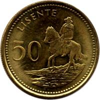 reverse of 50 Lisente - Moshoeshoe II (1998) coin with KM# 65 from Lesotho. Inscription: 50 LISENTE