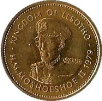 obverse of 5 Lisente - Moshoeshoe II (1979 - 1989) coin with KM# 18 from Lesotho. Inscription: KINGDOM OF LESOTHO H.M.MOSHOESHOE II 1979