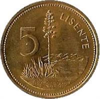 reverse of 5 Lisente - Moshoeshoe II (1979 - 1989) coin with KM# 18 from Lesotho. Inscription: 5 LISENTE