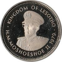 obverse of 25 Lisente - Moshoeshoe II (1979 - 1989) coin with KM# 20 from Lesotho. Inscription: KINGDOM OF LESOTHO H.M.MOSHOESHOE II 1979