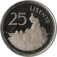 reverse of 25 Lisente - Moshoeshoe II (1979 - 1989) coin with KM# 20 from Lesotho. Inscription: 25 LISENTE