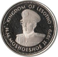 obverse of 10 Lisente - Moshoeshoe II (1979 - 1989) coin with KM# 19 from Lesotho. Inscription: KINGDOM OF LESOTHO H.M.MOSHOESHOE II 1983