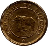 obverse of 1/2 Cent (1937) coin with KM# 10 from Liberia. Inscription: REPUBLIC OF LIBERIA