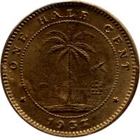 reverse of 1/2 Cent (1937) coin with KM# 10 from Liberia. Inscription: ONE HALF CENT 1937
