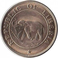 obverse of 2 Cents (1941 - 1978) coin with KM# 12a from Liberia. Inscription: REPUBLIC OF LIBERIA