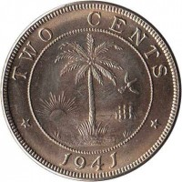 reverse of 2 Cents (1941 - 1978) coin with KM# 12a from Liberia. Inscription: TWO CENTS 1941