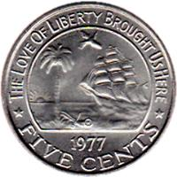 reverse of 5 Cents (1960 - 1984) coin with KM# 14 from Liberia. Inscription: THE LOVE OF LIBERTY BROUGHT US HERE 1974 * FIVE CENTS *