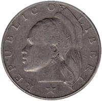 obverse of 1 Dollar (1966 - 1975) coin with KM# 18a from Liberia. Inscription: REPUBLIC OF LIBERIA