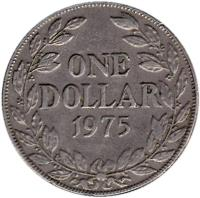 reverse of 1 Dollar (1966 - 1975) coin with KM# 18a from Liberia. Inscription: ONE DOLLAR 1970