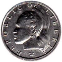 obverse of 10 Cents (1966 - 1987) coin with KM# 15a from Liberia. Inscription: REPUBLIC OF LIBERIA